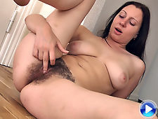 Hairy girl Nancy gets tired of cleaning