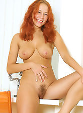 hairy bush, Dash lays back and casually grabs her big sweet natural breast her long red hair down