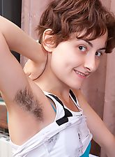 Alisa continues hairy pussy party at home