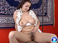 Khatherina loves banana in her hairy pussy