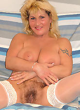 hairy muff, Older mature slut with overgrown pussy hair interracially fucked