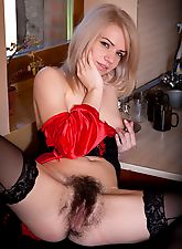 mature hairy, Selena gets hairy in the kitchen