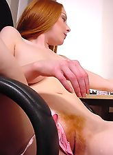 Bare Redhead Teen Couldn't Endure and She Just Shed Her Clothes in the Office & Started Rubbing Her Hairy Cunt